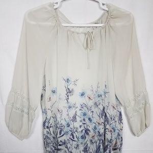 Lauren Conrad Sheer Floral Blouse Size Large